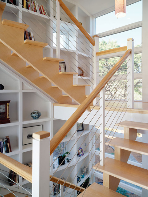 Iron Stair Railing Staircase Industrial with Bridge Built in Shelves Cable