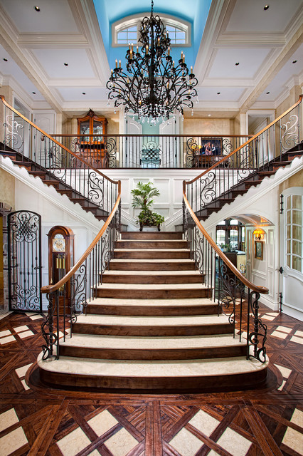 Iron Stair Railing Staircase Mediterranean with Beige Coffered Ceiling Beige