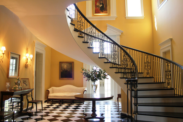iron stair railing Staircase Traditional with beige sofa beige wall