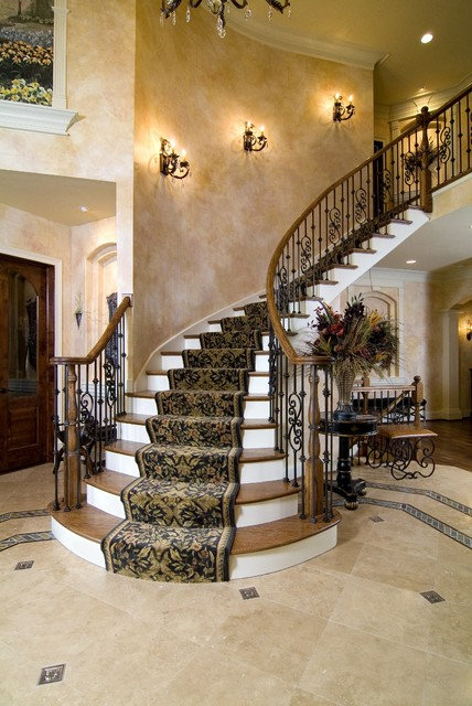 Iron Stair Railing Staircase Traditional with Beige Stone Floor Black