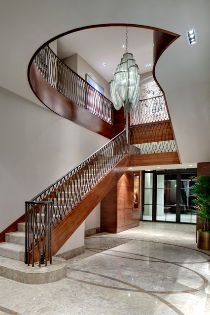 Iron Stair Railing Staircase Traditional with Beige Tile Floor Beige