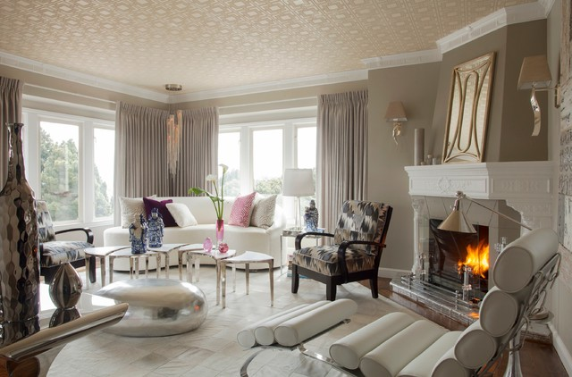ivc flooring Living Room Contemporary with art deco chaise chandelier