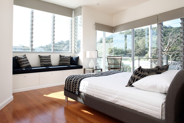 Jalousie Windows Bedroom Contemporary with Gray Accents Gray Cornice