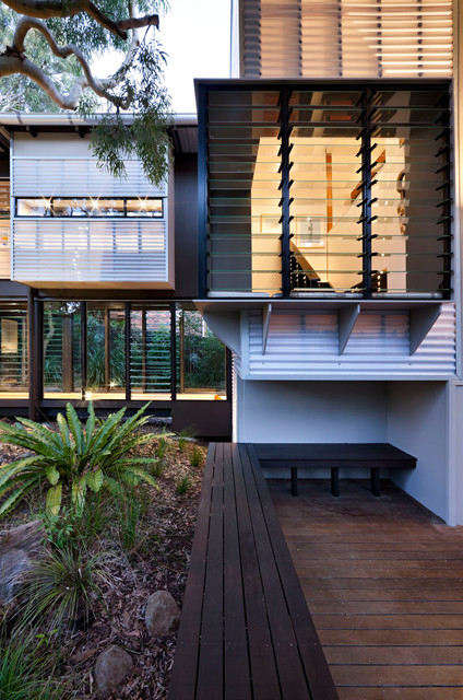 Jalousie Windows Exterior Tropical with Built in Bench Fern Glass