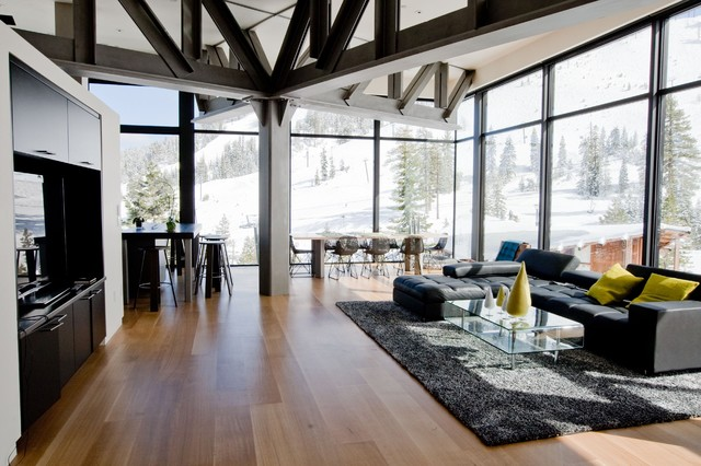 Jalousie Windows Living Room Contemporary with Accent Chair Beams Black