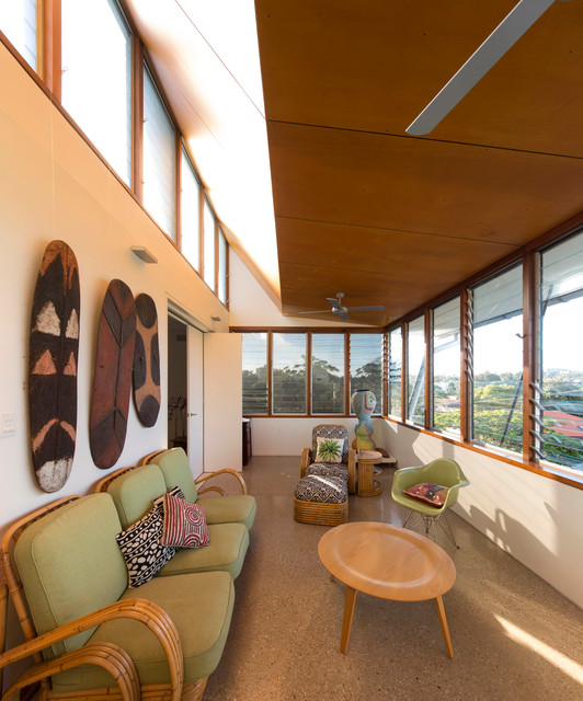 Jalousie Windows Living Room Contemporary with Alterations and Additions Bamboo