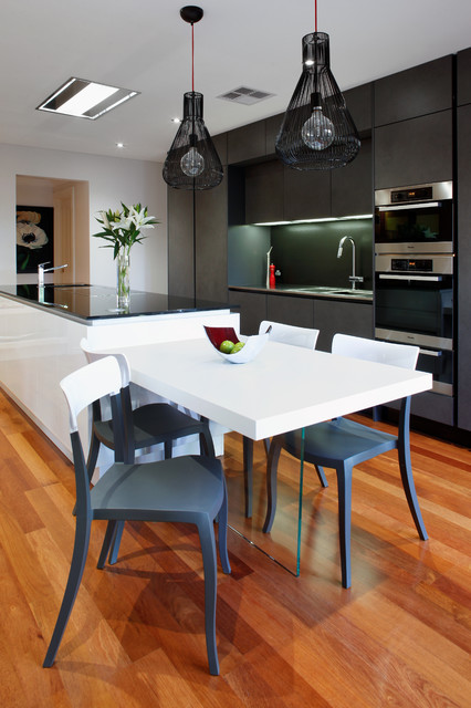 Jarvis Appliance Kitchen Contemporary with Black Pendant Lights Breakfast