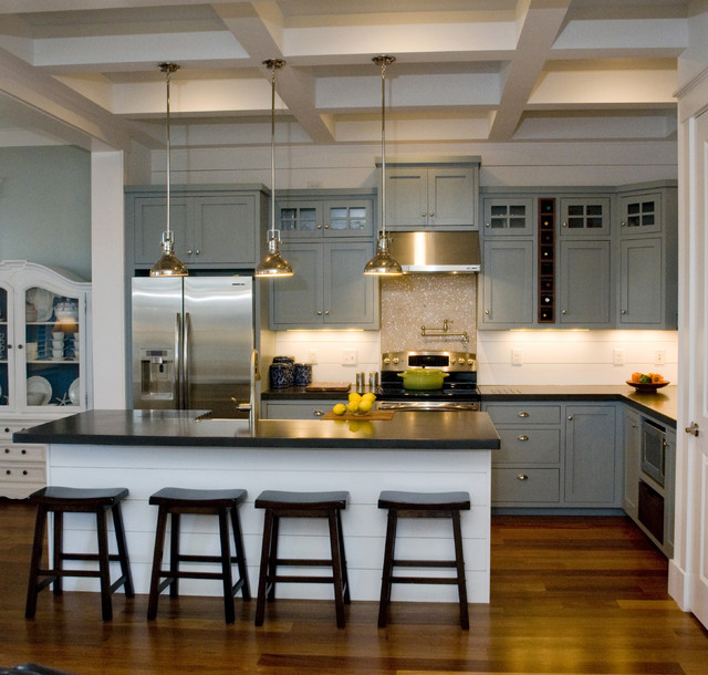 jarvis appliance Kitchen Traditional with barstools black countertop coffered