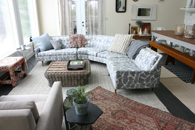 Jayson Home and Garden Living Room Eclectic with Basket Eclectic Gray Sofa
