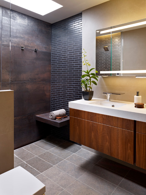 Jeffrey Court Tile Bathroom Contemporary with Bench in Shower Black