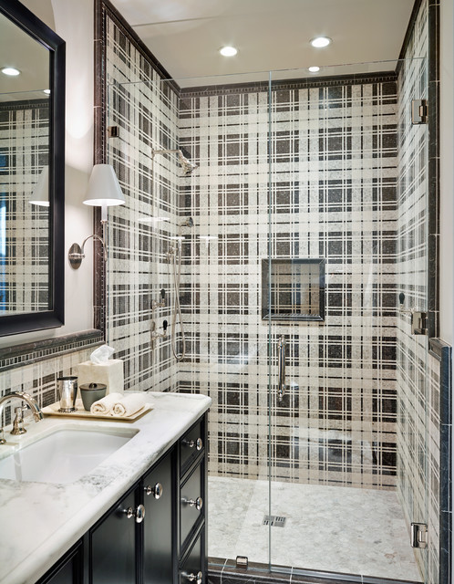 Jeffrey Court Tile Bathroom Mediterranean with Black and White Tile