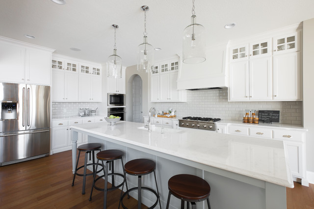 Jeffrey Court Tile Kitchen Traditional with All White Archways Clerestory