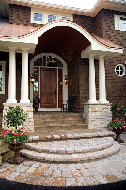 jeld wen exterior doors Entry Traditional with arched window brick patio