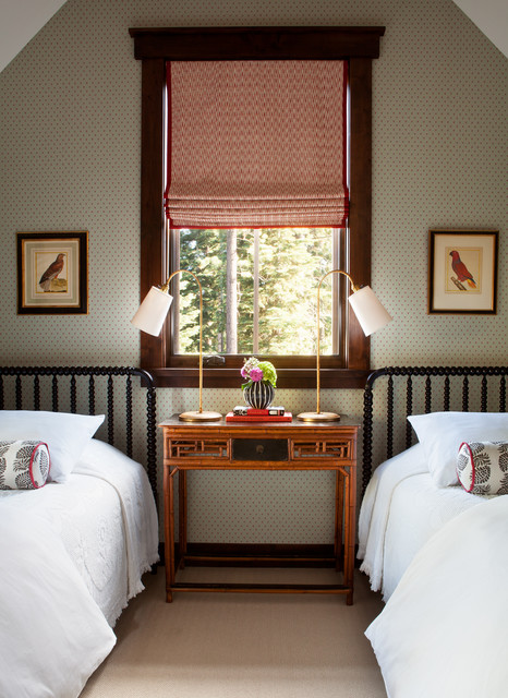 Jenny Lind Twin Bed Bedroom Transitional with Red Roman Shade Two