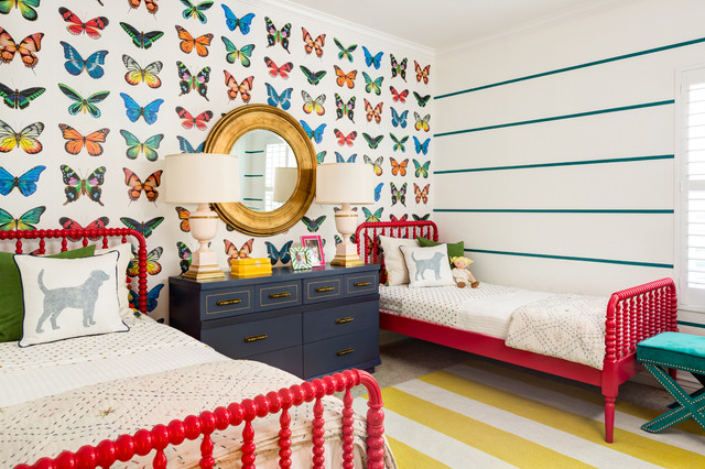 Jenny Lind Twin Bed Kids Contemporary with Aqua Bright Colors Butterflies