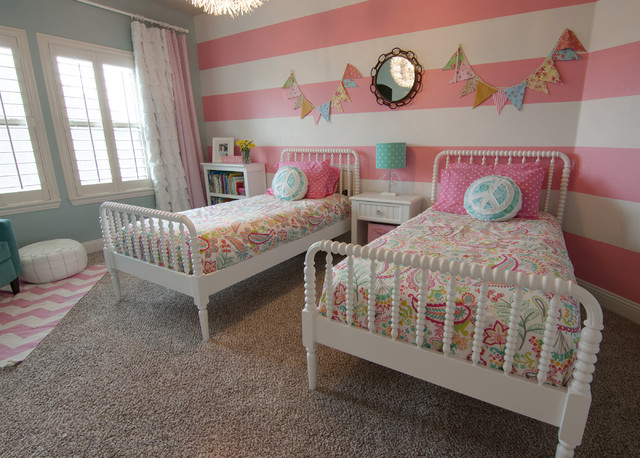 Jenny Lind Twin Bed Kids Traditional with Banners Blue Chevron Rug
