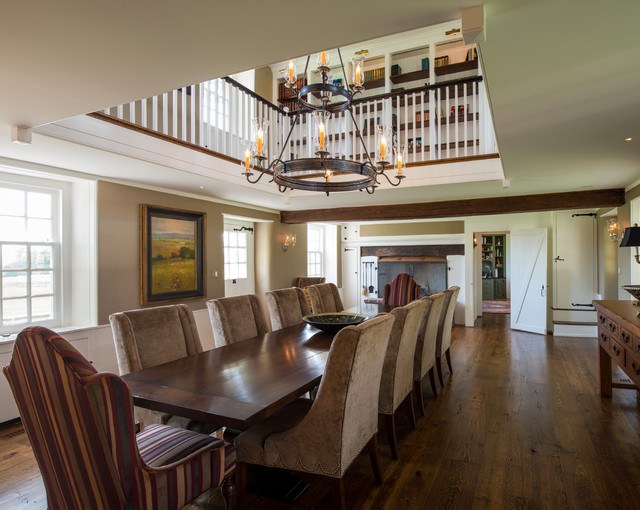 Jeremiah Lighting Dining Room Farmhouse with Antique Wood Floors Balcony