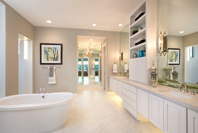Jimmy Jacobs Homes Bathroom Contemporary with Beige Walls Built in Chandelier