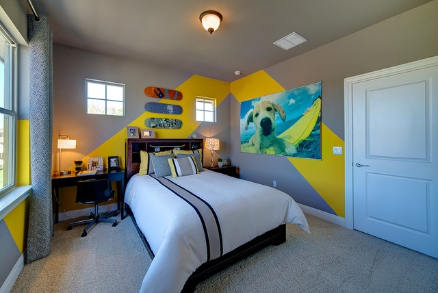 jimmy jacobs homes Kids Contemporary with chevron desk gray walls