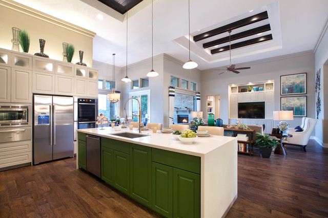 Jimmy Jacobs Homes Kitchen Contemporary with Ceiling Beams Ceiling Fan