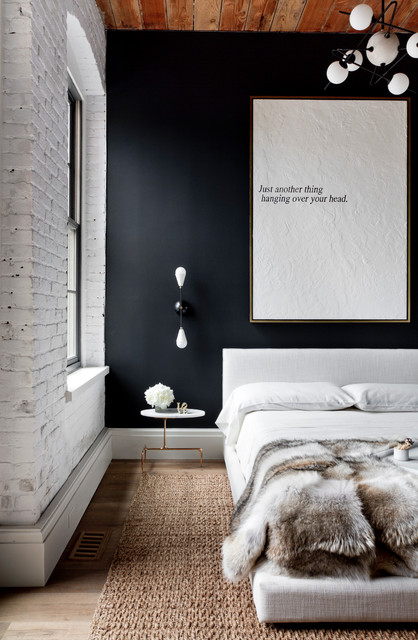 Jute Rug Bedroom Industrial with Black Accent Wall Contemporary