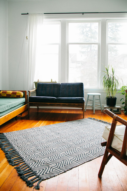 Jute Rug Living Room Eclectic with Art Collection Mid Century