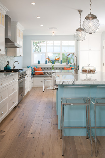 Kahrs Flooring Kitchen Beach with Blue Kitchen Island Breakfast
