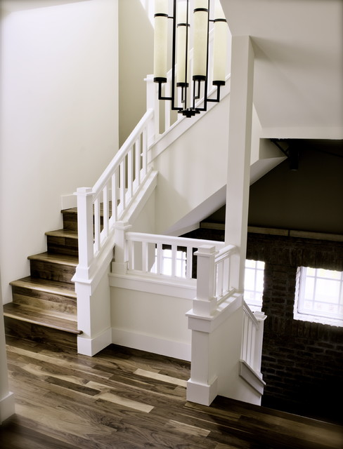 kahrs flooring Staircase Traditional with brick chandelier stair case