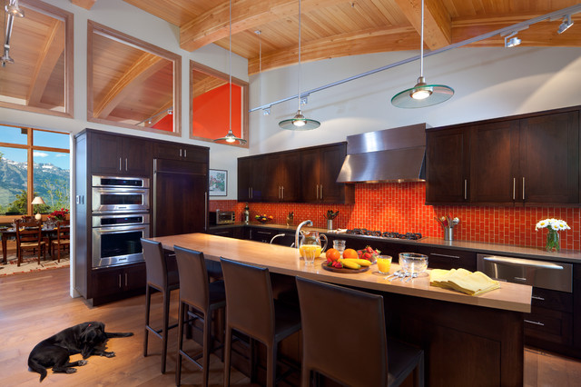 Karls Appliances Kitchen Contemporary with Arched Ceiling Beige Countertop