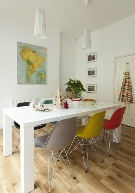 Karndean Flooring Dining Room Contemporary with Colorful Dining Chairs Map