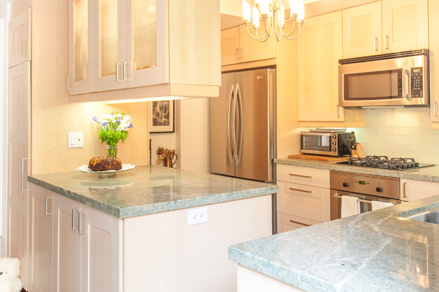Kashmir White Granite Kitchen Contemporary with Ann Sacks Costa Esmeralda