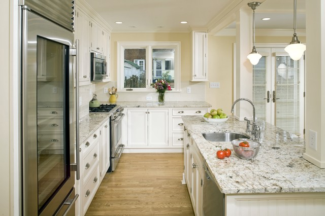 Kashmir White Granite Kitchen Traditional with Beams Bright Kitchen French