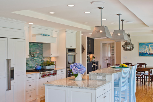 Kashmir White Granite Kitchen Traditional with Chandelier Counter Stools Dining