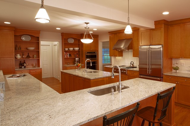 Kashmir White Granite Kitchen Traditional with Counter Seating Ge Monogram