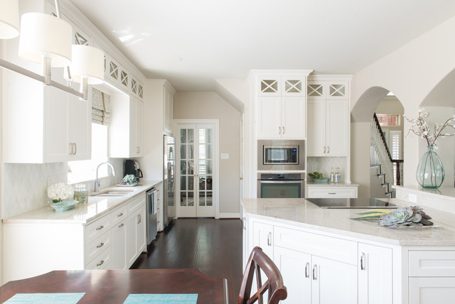 Kashmir White Granite Kitchen Transitional with Arched Doorway Brushed Nickel