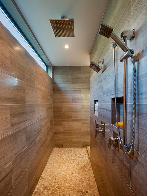 Kerdi Shower System Bathroom Contemporary with Antique Travertine Honed Brown