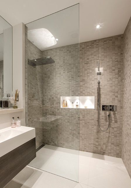 kerdi shower system Bathroom Contemporary with basement shower room beautiful
