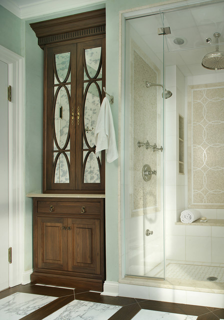 Kerdi Shower System Bathroom Traditional with Antique Mirror Antique Mirror