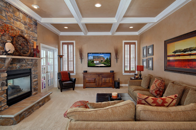 Kilim Pillows Family Room Traditional with Coffered Ceiling Fireplace French