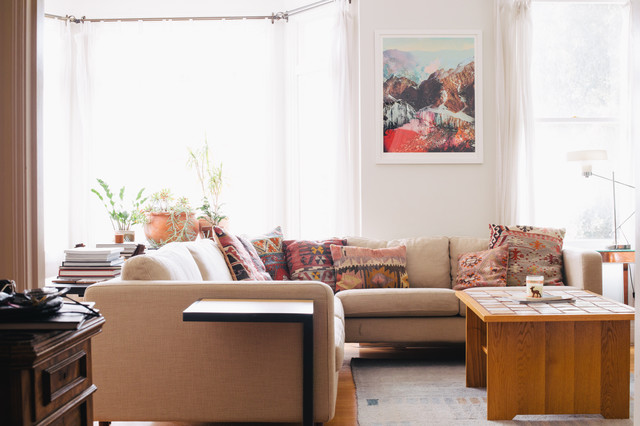 kilim pillows Living Room Eclectic with bay window beige couch