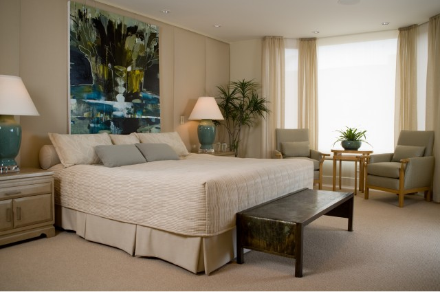 King Bedspread Bedroom Contemporary with Bay Window Bedside Table