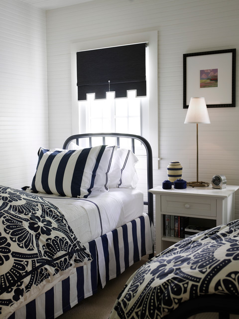 King Size Memory Foam Mattress Topper Bedroom Beach with Beadboard Blue and White