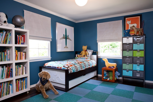 King Upholstered Headboard Kids Transitional with Area Rug Bedroom Bookcase
