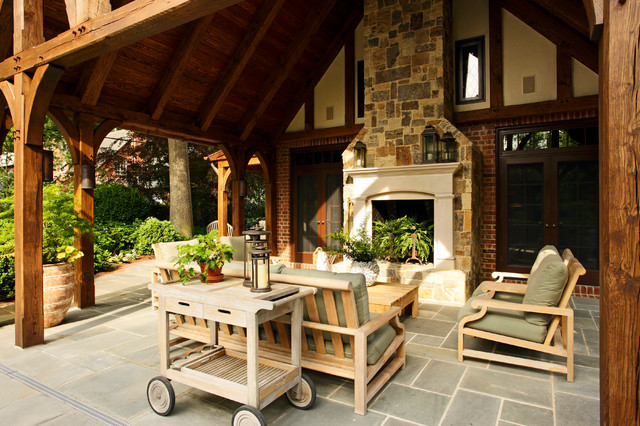 kingsley bate Patio Traditional with brick walls covered patio