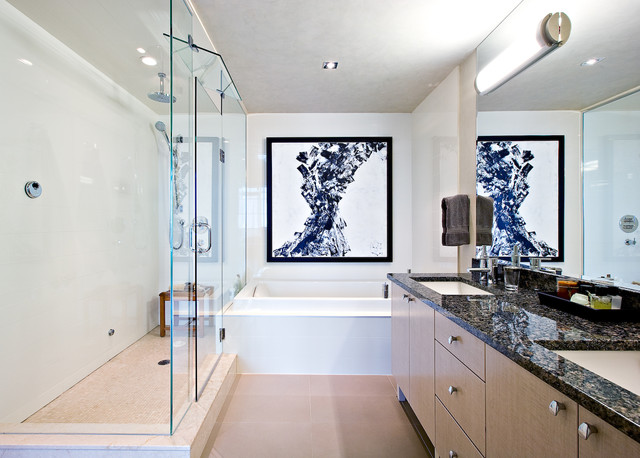 Kirsch Hardware Bathroom Contemporary with Artwork Double Vanity Flush