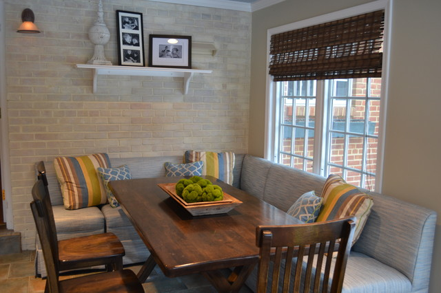 kitchen banquette Dining Room Traditional with bamboo shades banquette blue