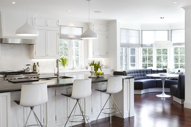 Kitchen Banquette Kitchen Transitional with Beveled Edge Black Counter