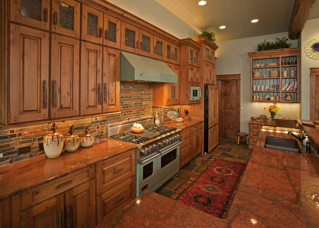 Knotty Alder Cabinets Kitchen Rustic with 2 Levels of Wall