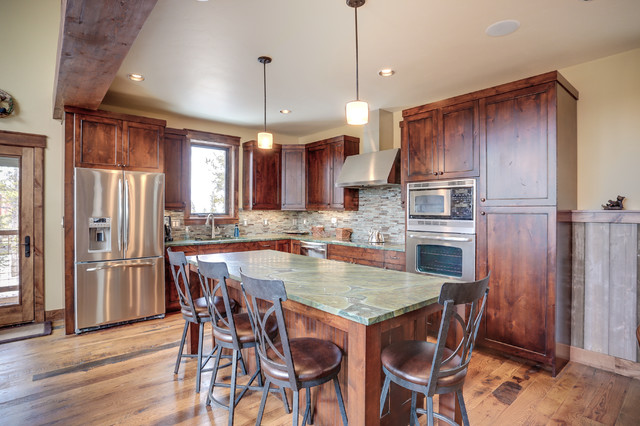 Knotty Alder Cabinets Kitchen Rustic with Beams Counter Stools Mountain