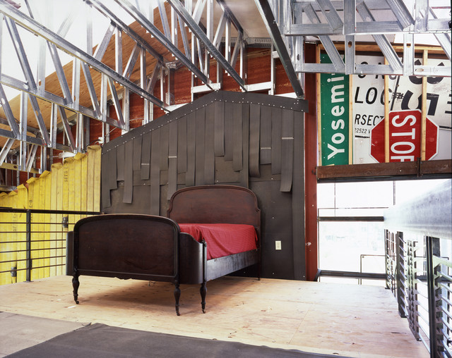 knox rail salvage Bedroom Industrial with balcony black bed exposed